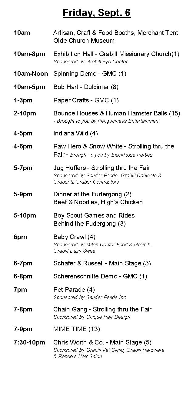 Grabill Country Fair 2017 Friday Schedule