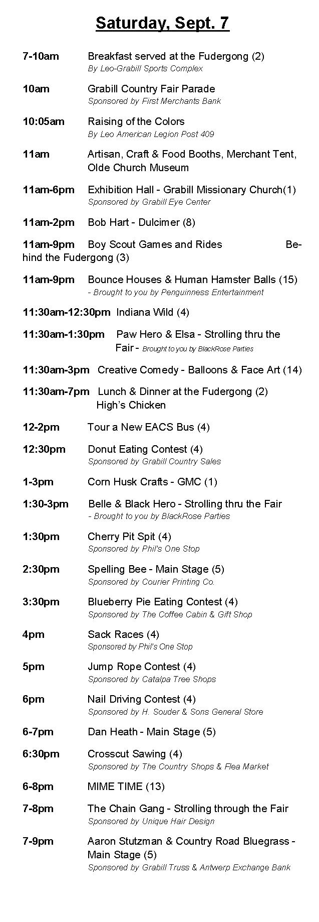 Grabill Country Fair 2017 Saturday Schedule